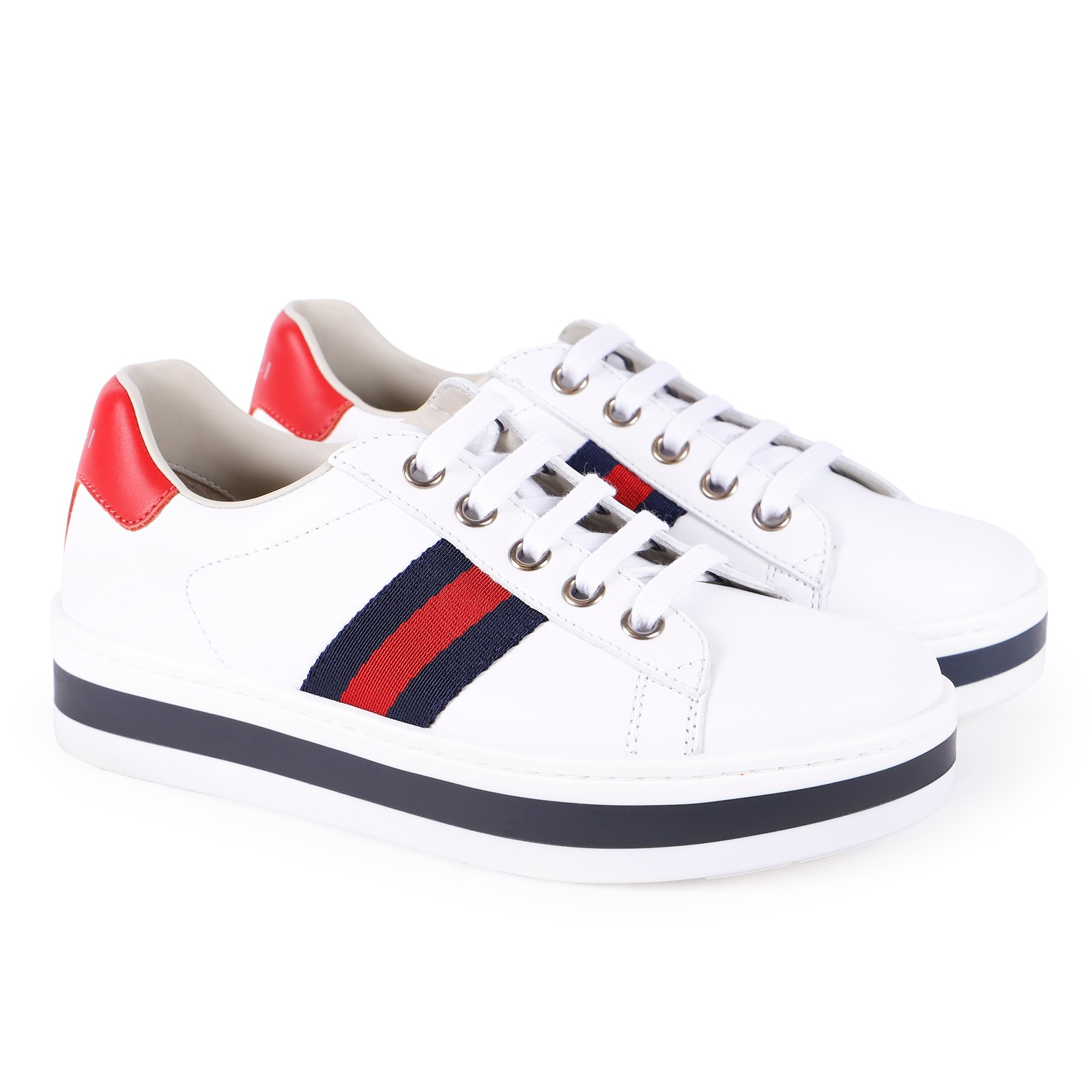 Gucci Platform Lace Up Sneakers In White Bambini Fashion