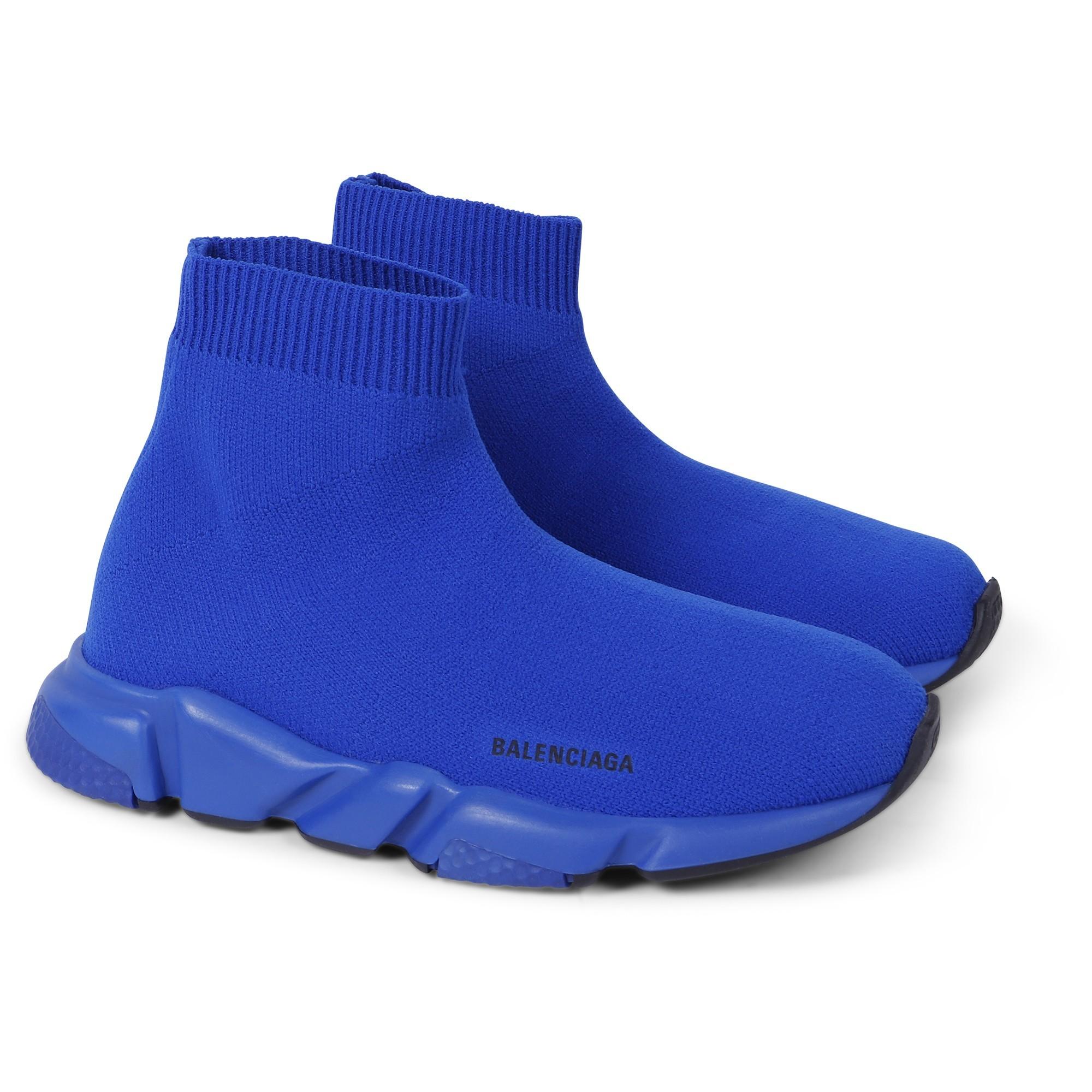 Balenciaga Blue Knit Sock Sneakers