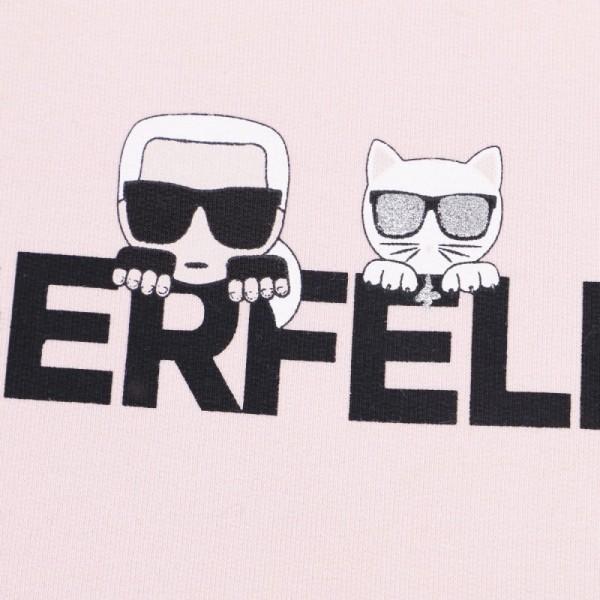 Karl Lagerfeld Girls Logo Hoodie In Pink