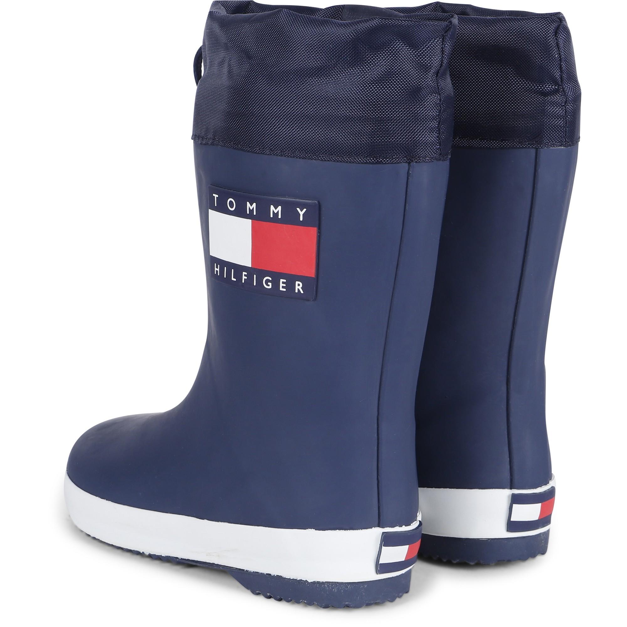 Tommy Hilfiger Logo Rain Boots In Blue - Bambinifashioncom-1880