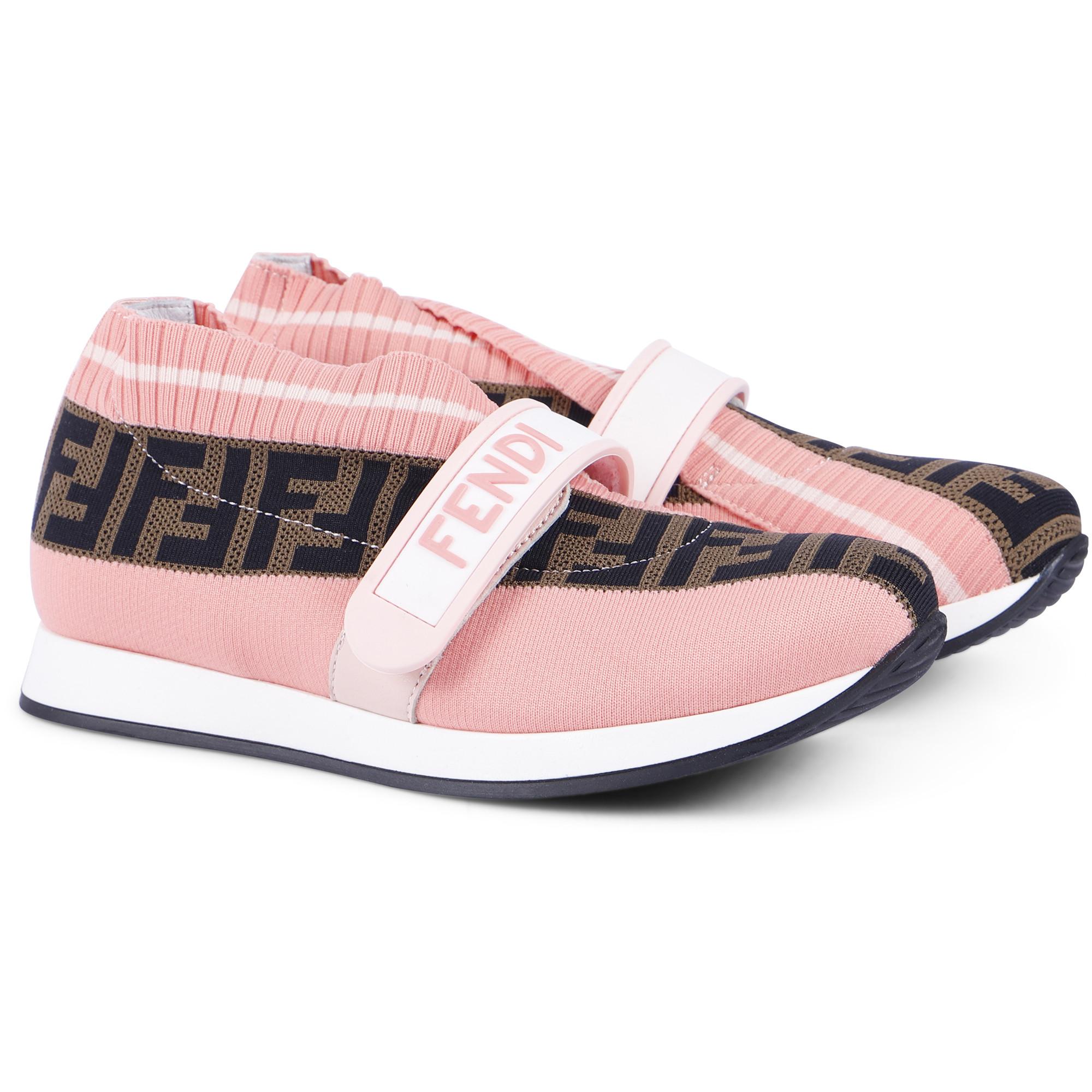 Fendi FF Fabric Sneakers in Pink