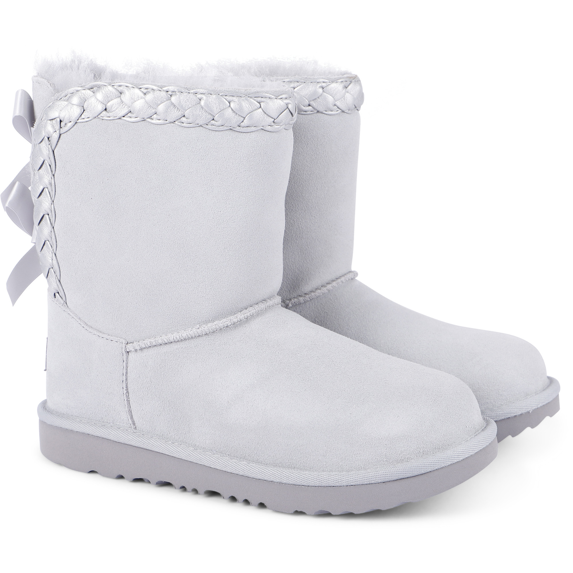 UGG Girls Braided Suede Boots in Light