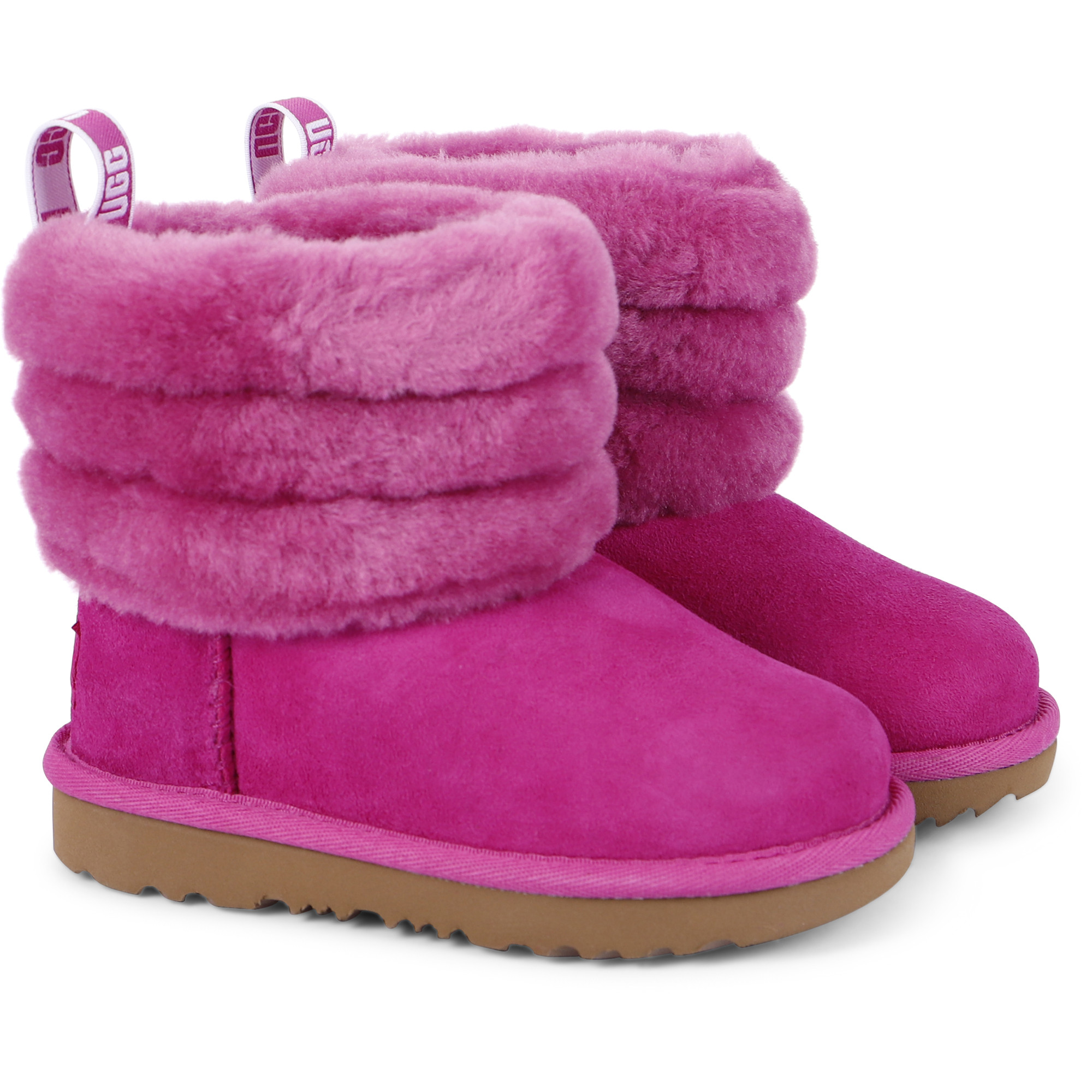 UGG Girls Furry Roll Boots in Pink
