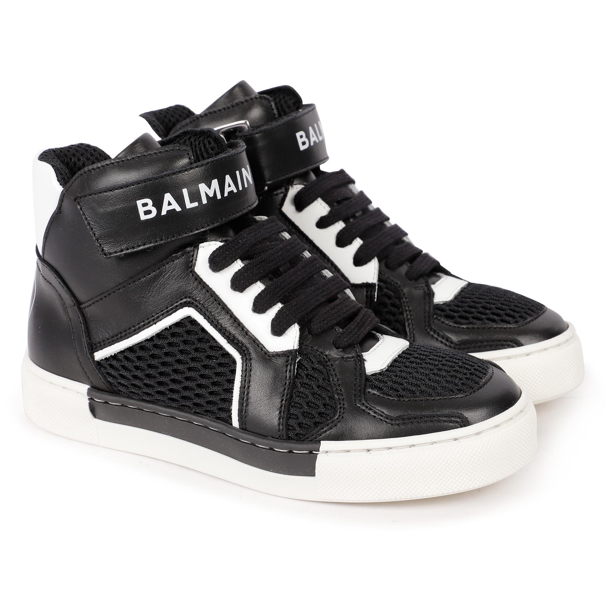 Balmain Logo Ankle Sneakers in Black