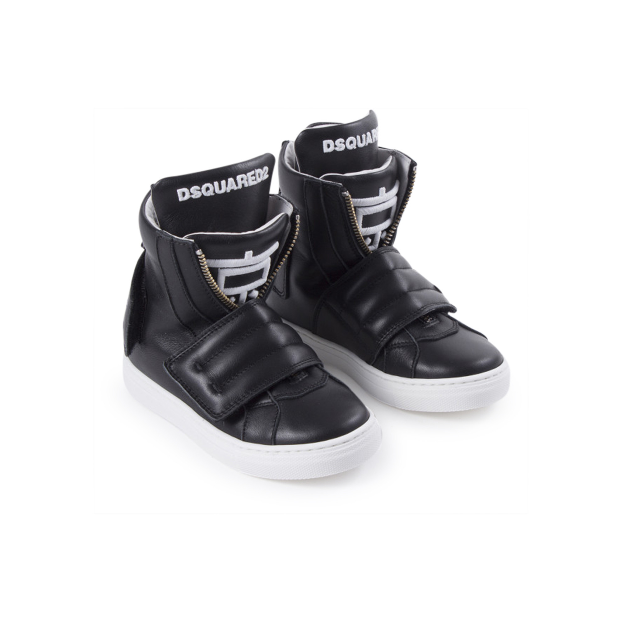 DSQUARED2 Boys Black Leather High-Top