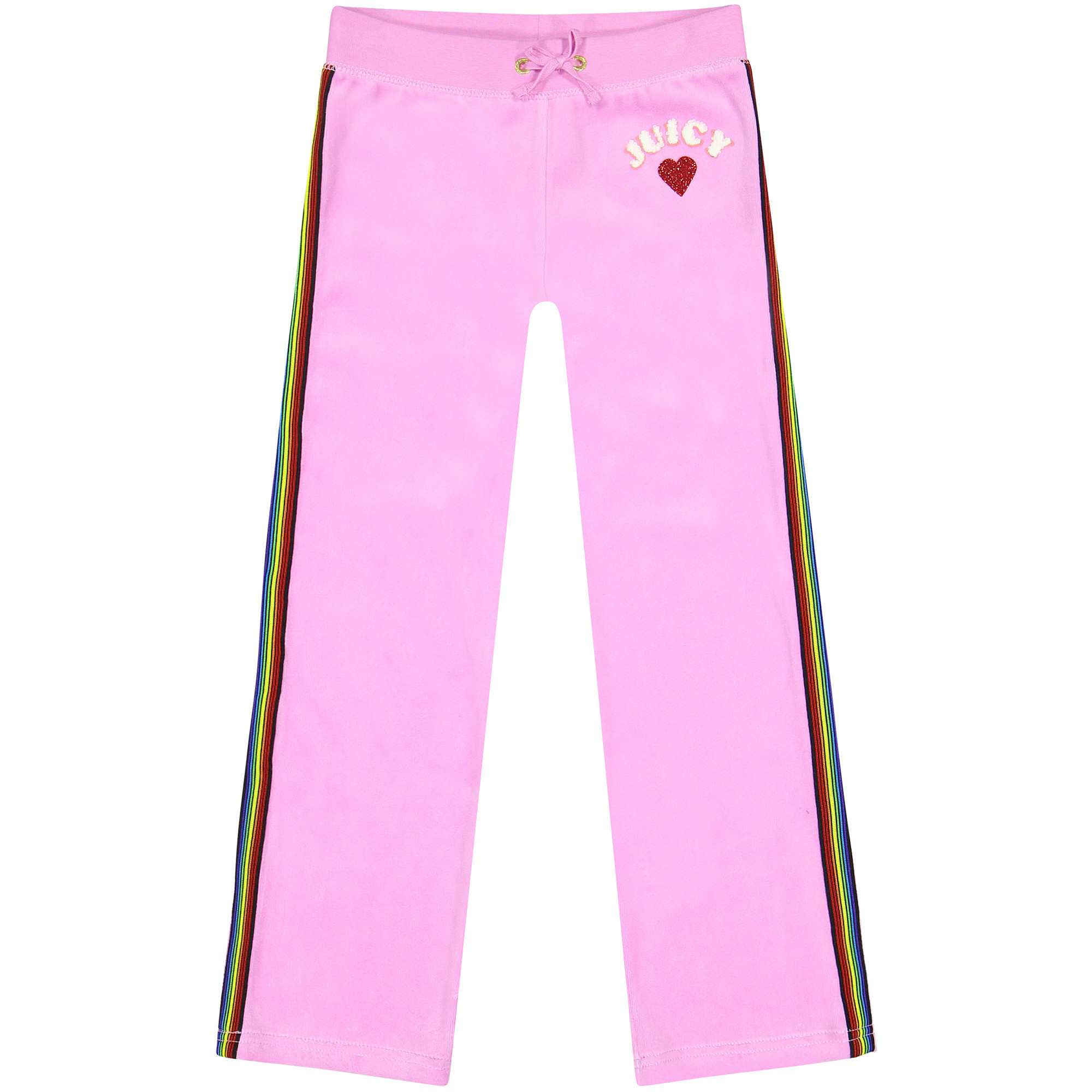 Juicy Couture Girls Velour Tracksuit Pants In Pink With Rainbow Racing Stripe Bambinifashion Com