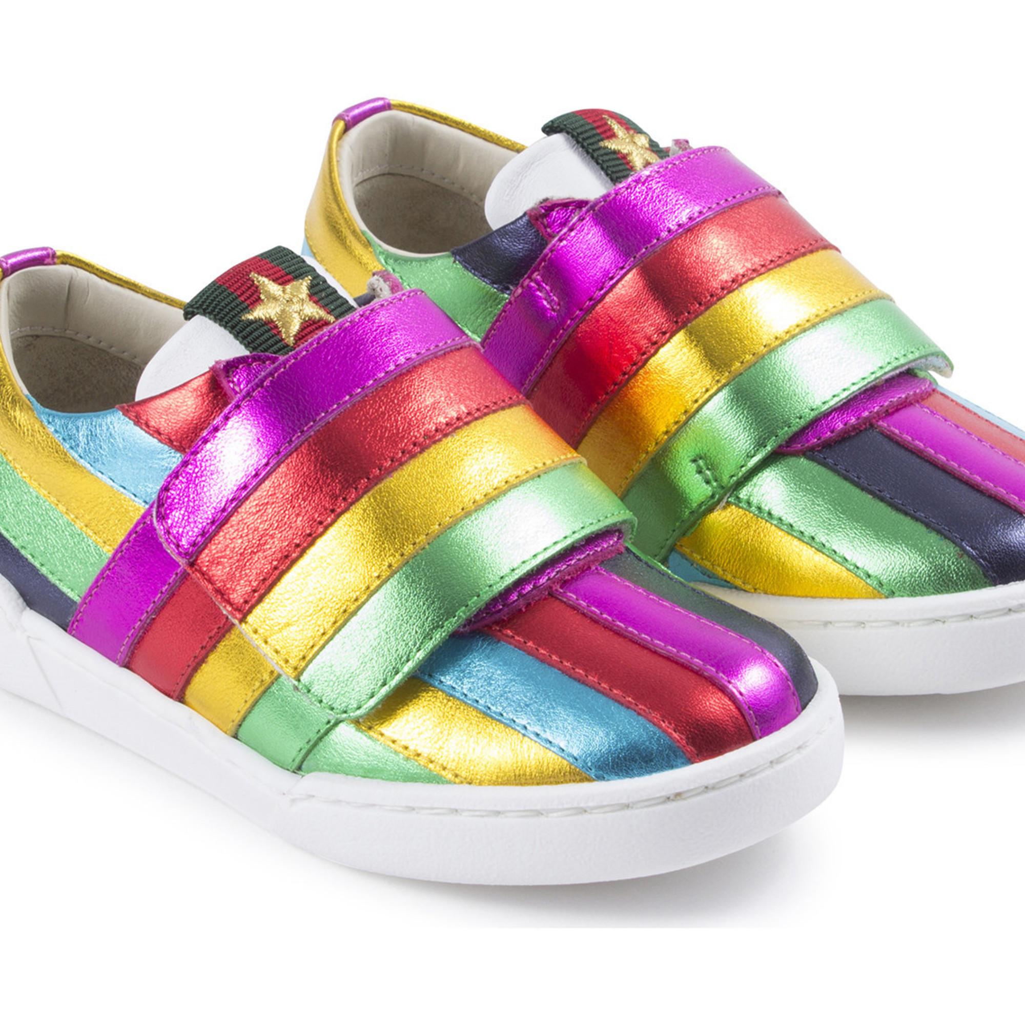 Gucci Girls Rainbow Metallic Sneakers