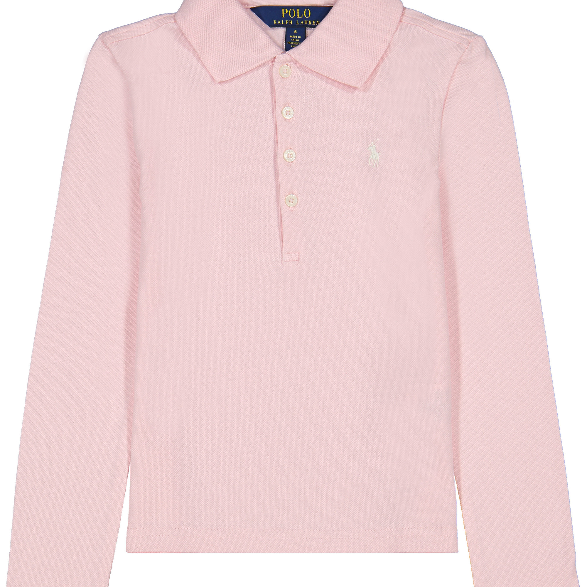Girls Long Sleeve Polo Shirt in Pink