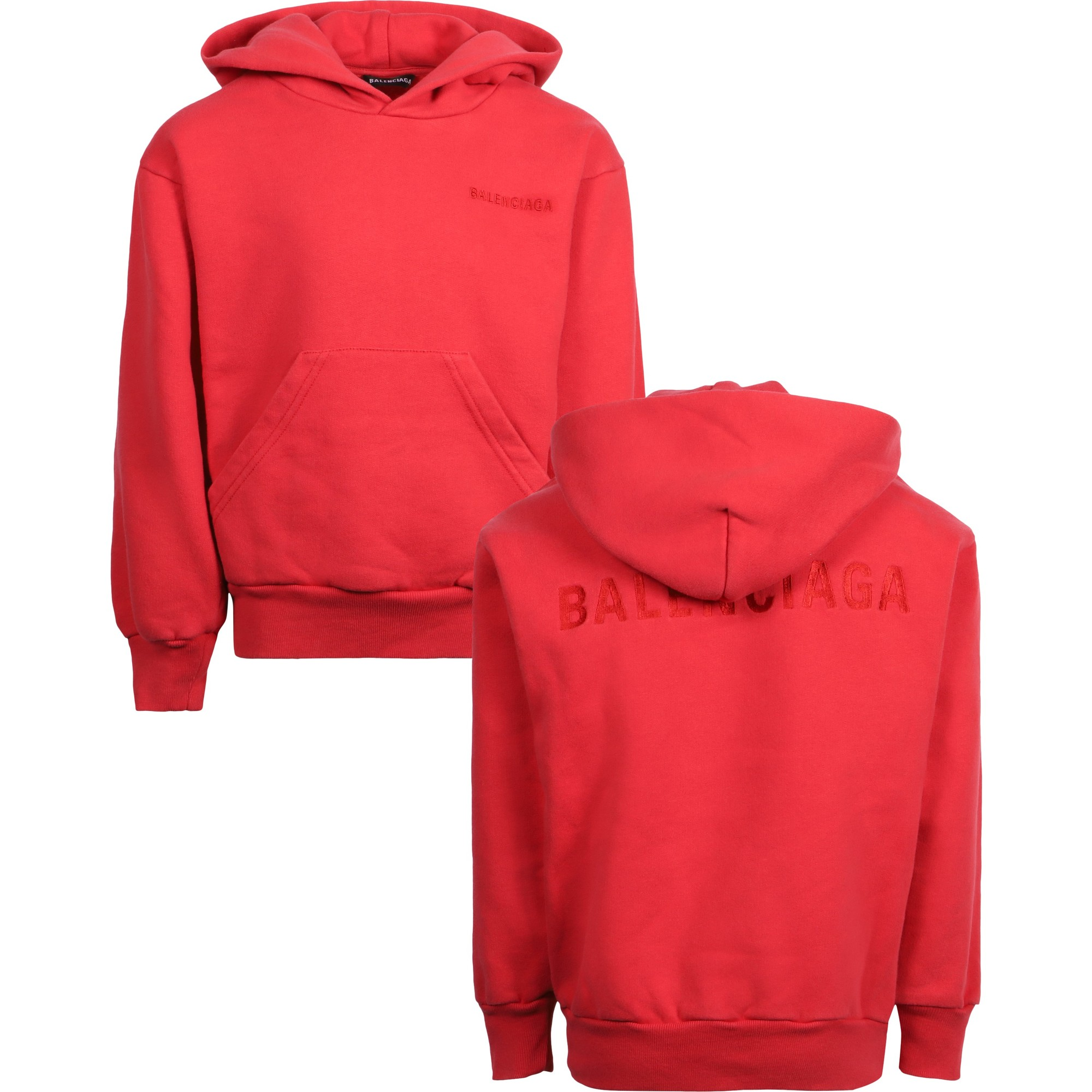 Balenciaga Red Hoodie with Pouch Pocket