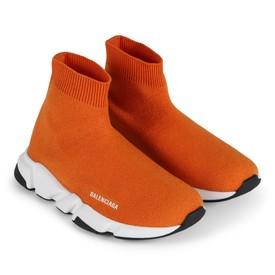 Balenciaga Orange Knit Sock Sneakers