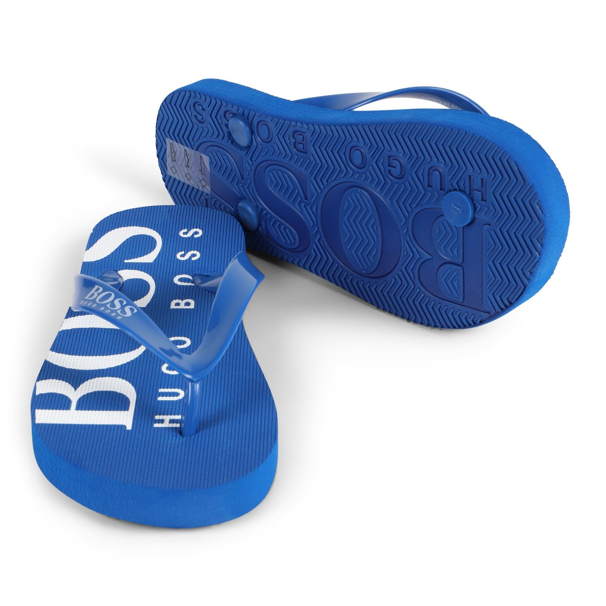 Boss Boys Logo Flip Flop Sandals In Blue Bambini Fashion